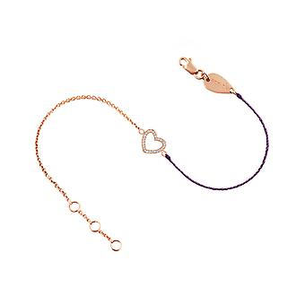 Bracelet Heart 18K Gold and Diamonds, on Half Thread Half Chain - Rose Gold, ElectricPurple