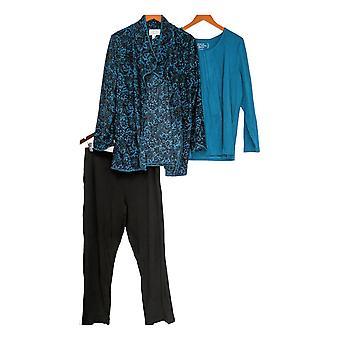 Carole Hochman Women's Pajama Set Floral Lace Waffle Fleece Blue A294081