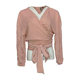 Du Jour Women's Top Drop Shoulder Long-Sleeve Wrap Front Top Pink A343621