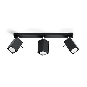 Merida Ceiling Light Black Steel 3 Bulbs