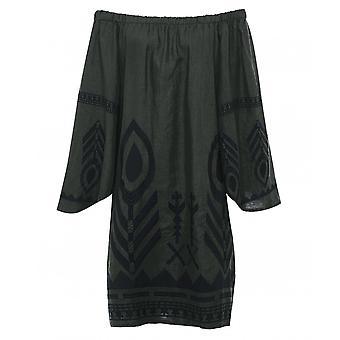 Kori Linen Embroidered Bardot Dress
