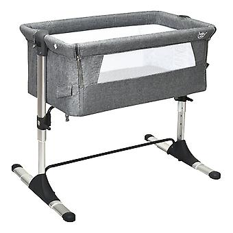 Baby Bed Side Crib, Portable Travel Sleeper Bedside Bassinet with Carrying Bag, Newborn Bassinet to Infant Sleeper, Kids Crib with Detachable Mattress, Height & Angle Adjustable, Breathable Mesh, Grey