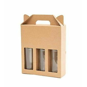 215 x 70 x 260 mm | Brown 3 x Beer Ale Cider Bottle Presentatie Gift Box | 100 Pack