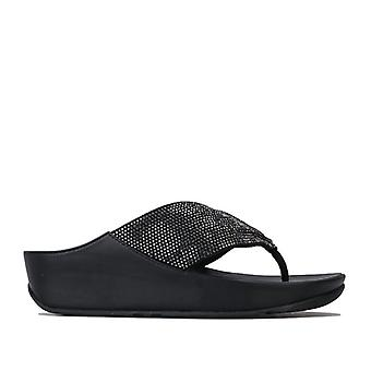 Women's Fit Flop Twiss Crystal Toe Thong Sandals in Black