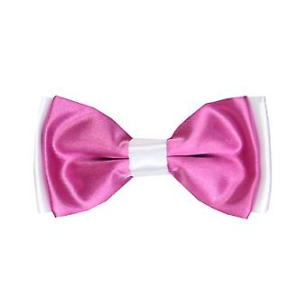 Boys Pre-tied Adjustable Neck Strap Kids Bowtie  In Ultra Pink and White