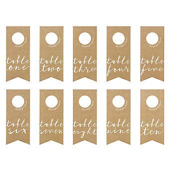 Kraft Card Wine Bottle Tag Bröllop Tabell Nummer 1-10