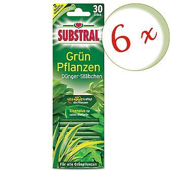 Sparset: 6 x SUBSTRAL® gödselstavar för gröna växter, 30 stycken