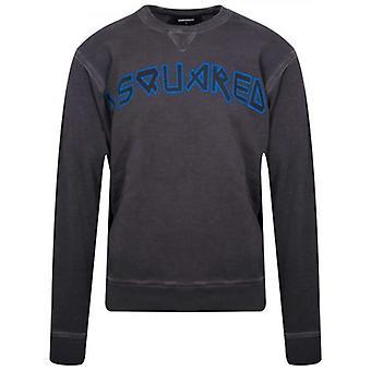 DSQUARED2 グレー&ブルー プリント ロゴ クルーネック スウェットシャツ