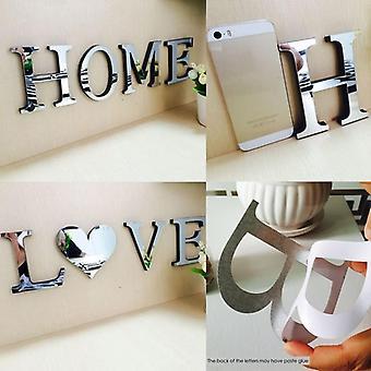 Home Love Pattern Diy Furniture Mirror Effect Decor Wall Art