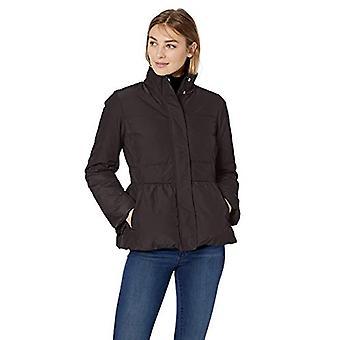 Lark & Ro Women's Peplum Puffer Jacket, Black, Large