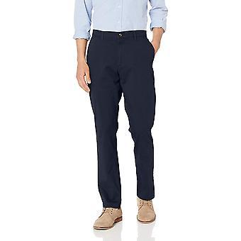 Essentials Uomini's Athletic-Fit Casual Stretch Khaki Pant, Marina, 34W x 29L