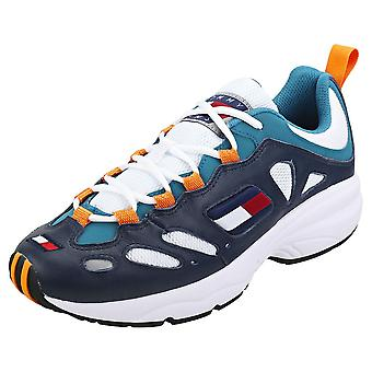 Tommy Jeans Retro Sneakers Mens Casual Trainers in Blue Orange