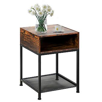 Industrial Side Table Nightstand End Table Open Storage Compartment Mesh Shelf