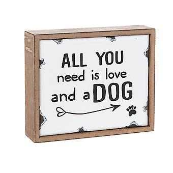 All You Need Is Love & A Dog Vintage Emaille Plaque - Cadeau Item