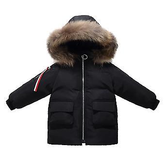 أطفال باركا نمط Unisex فو الفراء مقنع أسفل مبطن معطف طويل الشتاء - أسود