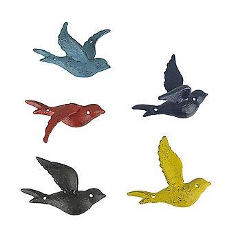 5カラフルな鋳鉄の苦しんでいる仕上げフライング鳥装飾アクセント壁の彫刻のセット