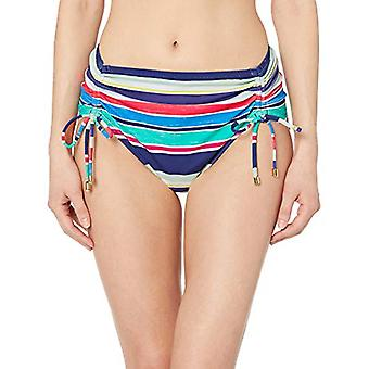 24ème & Ocean Women's Hipster Bikini Swimsuit Bottom, Navy//high Tide Stripe, L