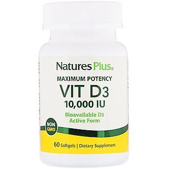 Nature's Plus, Maximale Potentie, Vit D3, 10.000 IE, 60 Softgels