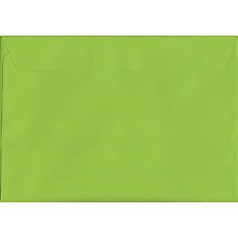 Lime Green Peel/Seal C4/A4 farbige grüne Umschläge. 120gsm Luxus FSC zertifiziertes Papier. 229 mm x 324 mm. Wallet-Stil-Umschlag.