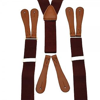 Ties Planet Plain Wine Tinto High Back Leather End Trouser Braces
