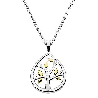 Dew Sterling Silver Leafed Tree With Gold Plate Pendant 98017GD020