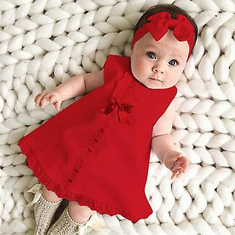 Newborn Baby Sleeveless Casual Maxi Bow Dress And Headband Set
