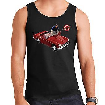 MG Red Getting In Car British Motor Heritage Men's Vest