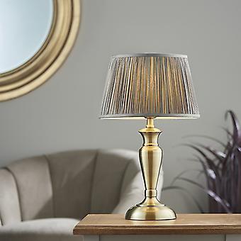 Lámpara de mesa antigua placa de latón y carbón gris seda 1 luz IP20 - E27