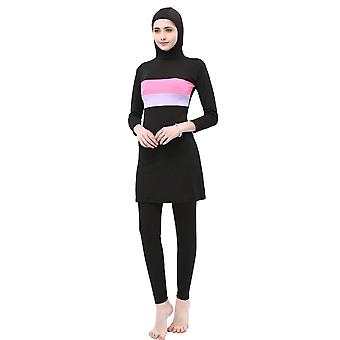 Women Stripe Printed Muslim Swimwear -sport Burkinis