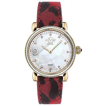 GV2-tekijä Gevril Ravenna Womens 12602 Swiss Quartz Animal Print Suede Diamond Watch