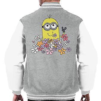 Despicable Me Minion Enjoying Flowers Men's Varsity Jacket