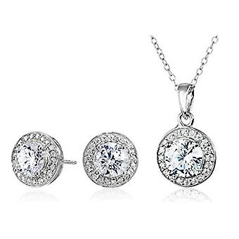Sterling Silver Cubic Zirconia Halo Pendant Necklace and, White, Size No Size