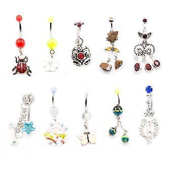 Bauch-Taste-Ring lässt Party-Pack von 10 Nabel Ringe mit einzigartigen Designs 14g