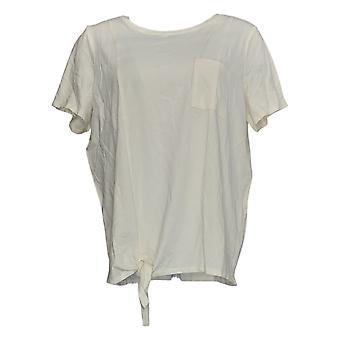 Anybody Women's Top Cozy Knit Side Tie T-Shirt W/ Pocket Ivory A353777