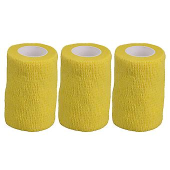3PCS Breathable Yellow Bandage Self-Adherent Athletic Tape Width 7.4cm