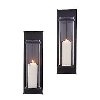 Danya B. Metal Pillar Candle Sconces With Glass Inserts A Wrought Iron Rectangle Wall Accent (Set Of 2)