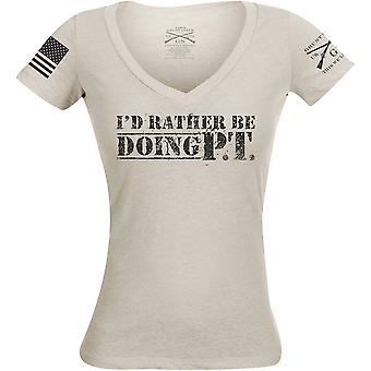 Grunt Style Women's I'd Mieluummin Olla tekemässä PT V-Neck T-paita - Sand