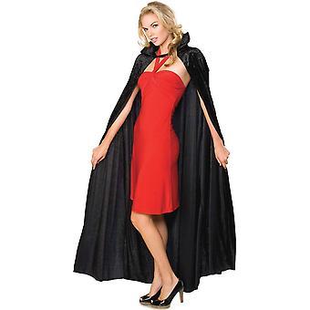 Rubie&Apos;s official adult's halloween long crushed velvet cape costume - czarny, jeden rozmiar