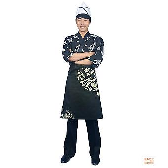 Unisex Sushi Chef Coat ? Sleeve Kinomo Japanese Restaurant Uniform Jacket Ties Up