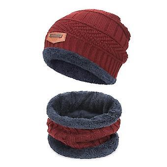 כובע סרוג חם חורף עם צעיפים צעיף כובע צמר מעובש / בנות