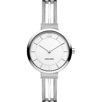 Deens design Tiara Stripe Horloge - Zilver/Wit
