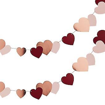 Valentijnskaarten Rose Gold Heart Bunting   Verloving Bruiloft Guirlande Decoraties 2M