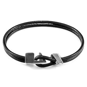 ANCHOR & CREW Brixham Silver and Round Leather Bracelet