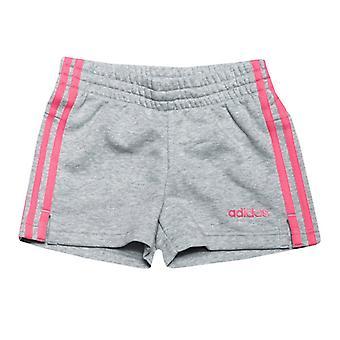 Girl's adidas Junior Essentials 3-Streifen Shorts in grau