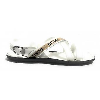 Men's Shoes Elite Sandal Bands White Leather Craft Us17el30