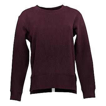 Kirkland Signature Women's Fleece Crewneck Relaxed Fit W/ Side Slit Purple