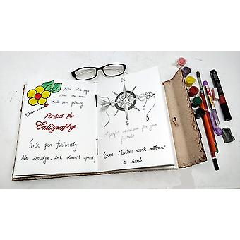 """10"""" Leather Journal with Lock Writing Pad Blank Notebook Handmade Notepad Men  Women Unlined"""