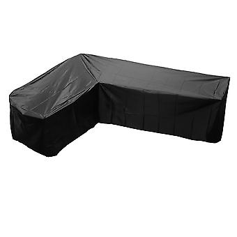 1pc Outdoor Furniture Cover V Shaped Sofa Cover Waterproof Dustproof Furniture Protector Durable Dampproof Loveseat Cover 286x286cm(black)