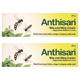 2x di 20g Anthisan Bite & Sting Cream, Sollievo da Insetto, Punture di Insetti