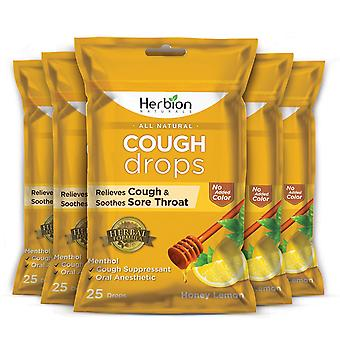 Herbion Naturals Cough Drops with Honey Lemon Flavor – 25Ct Pouch (Pack of 5)